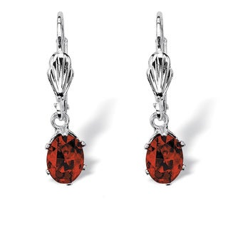 PalmBeach Color Fun Silvertone Oval-cut Birthstone Drop Earrings
