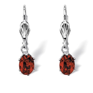 Color Fun Silvertone Oval-cut Birthstone Drop Earrings