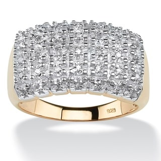18k Yellow Gold over Sterling Silver 1/6ct TDW Diamond Cluster Square Ring (H-I, I2-I3)