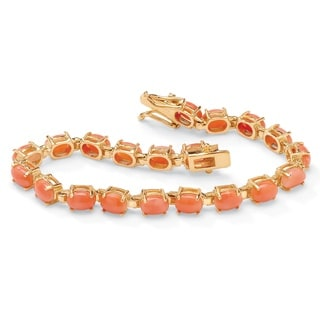 Naturalist 14k Goldplated Oval-cut Coral 7.5-inch Tennis Bracelet