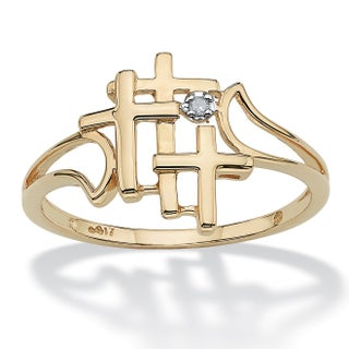 10k Yellow Gold Diamond Accent Triple Cross Ring - White (4 options available)