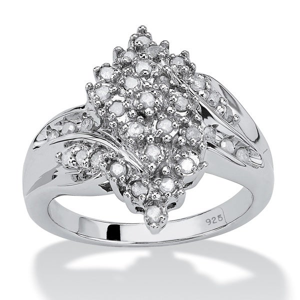 2251d2220fd Shop Platinum over Sterling Silver 3/8ct TDW Round Ice Diamond ...