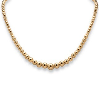 Tailored 18k Gold over Sterling Silver 17-inch Graduated Bead Necklace