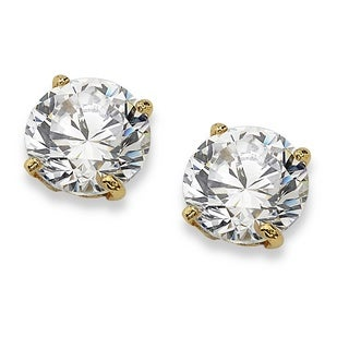 PalmBeach Classic CZ 10k Yellow Gold Round Cubic Zirconia Stud Earrings