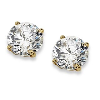 Classic CZ 10k Yellow Gold Round Cubic Zirconia Stud Earrings