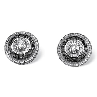 PalmBeach Glam CZ Platinum and Black Ruthenium over Sterling Silver Cubic Zirconia Halo Earrings