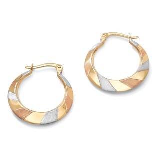 PalmBeach Tailored 10k Tri-tone Gold Flat Hoop Earrings