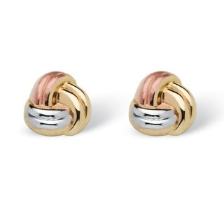 PalmBeach Tailored 10k Tri-tone Gold Love Knot Earrings