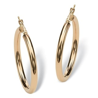 PalmBeach Tailored 10k Yellow Gold Polished Hoop Earrings