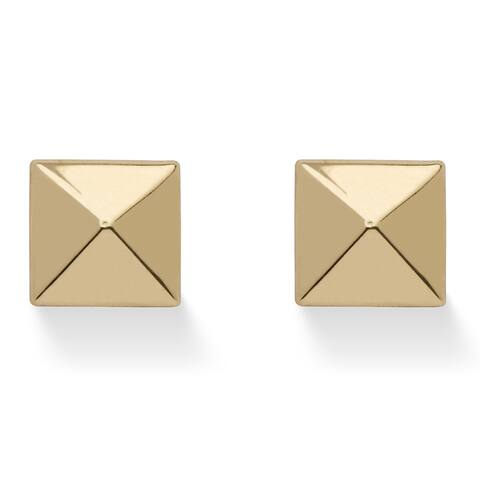 Tailored 14k Yellow Gold Pyramid Stud Earrings
