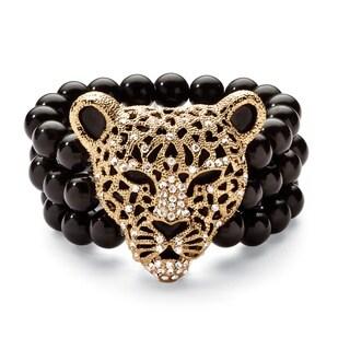 Bold Fashion Goldtone Crystal Leopard Simulated Onyx Stretch Bracelet