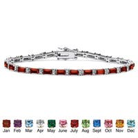 Color Fun Silvertone Emerald-cut Birthstone 7.5-inch Tennis Bracelet