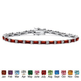 Color Fun Silvertone Emerald-cut Birthstone 7.5-inch Tennis Bracelet (More options available)