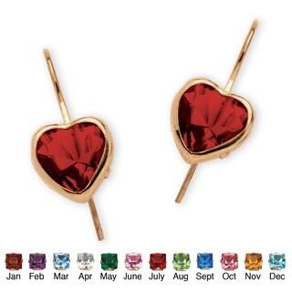 PalmBeach Color Fun 10k Yellow Gold Heart-shaped Birthstone Drop Earrings