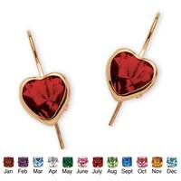 PalmBeach Color Fun 10k Yellow Gold Heart-shaped Birthstone Drop Earrings