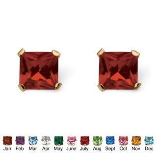Color Fun 10k Yellow Gold Princess-cut Birthstone Martini Set Birthstone Stud Earrings