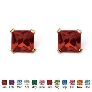 Color Fun 10k Yellow Gold Princess-cut Birthstone Martini Set Birthstone Stud Earrings