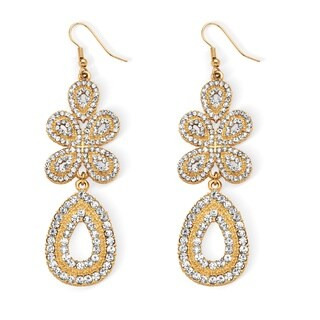 Bold Fashion Goldplated Crystal Chandelier Two-Tone Earrings