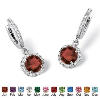 Color Fun Silvertone Round Birthstone Hoop Halo Drop Earrings