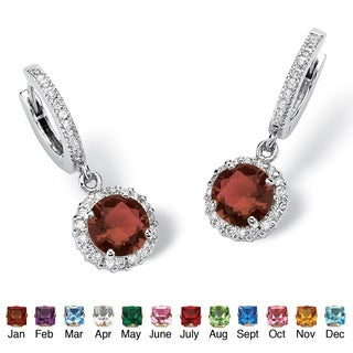Color Fun Silvertone Round Birthstone Hoop Halo Drop Earrings (3 options available)