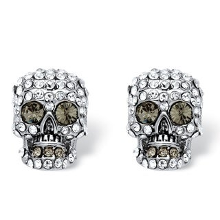 PalmBeach Bold Fashion Silvertone Pave Crystal Skull Stud Earrings