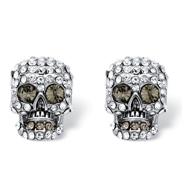 Bold Fashion Silvertone Pave Crystal Skull Stud Earrings