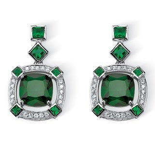 PalmBeach Glam CZ Platinum over Silver Princess-cut Simulated Emerald Halo Drop Earrings