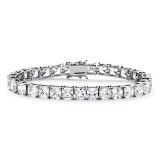 Glam CZ Platinum-plated Princess-cut Cubic Zirconia Tennis Bracelet