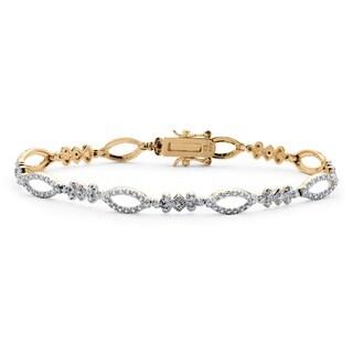 PalmBeach 14k Gold Over Sterling Silver Diamond Accent Pave Oval Link Bracelet
