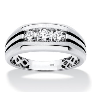 Platinum over Sterling Silver Men's Round Created White Sapphire Grooved Band