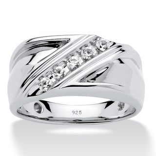 Platinum over Sterling Silver Men's Round Created White Sapphire Diagonal Band