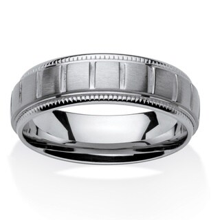 Stainless Steel Men's Block Pattern Comfort Fit 7 mm Band