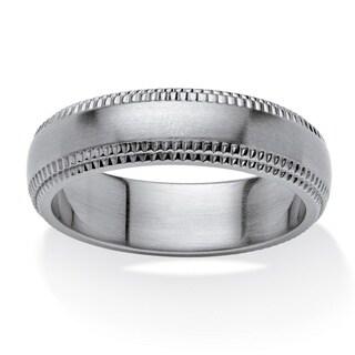 Men's Stainless Steel Comfort Fit Milgrain Edging 6mm Wedding Band