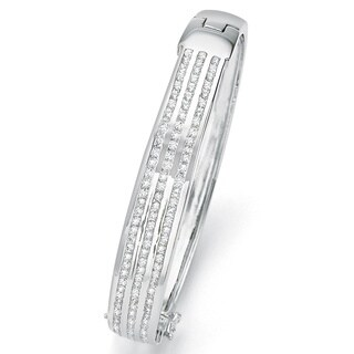 Silver Tone Triple Row Channel Set Bangle Bracelet (12mm), Round Cubic Zirconia, 8.75""