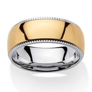 PalmBeach Men's Two-Tone Gold Ion-plated Stainless Steel Comfort Fit Wedding Band