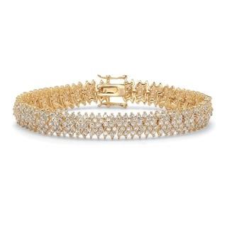 PalmBeach Glam CZ 14k Yellow Goldplated Round Cubic Zirconia 5-row 7.5-inch Tennis Bracelet