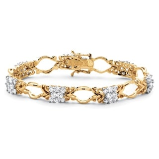 Classic CZ 18k Gold over Sterling Silver Cubic Zirconia Decorative Cluster Link Bracelet