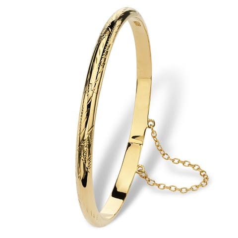 Tailored 18k Yellow Gold over Sterling Silver Etched 7-inch Bangle Bracelet