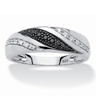 PalmBeach Platinum over Sterling Silver Men's 1/5ct TDW Black and White Diamond Ring (H-I, I2-I3)