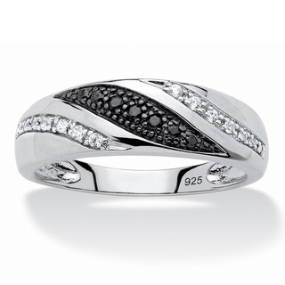 Platinum over Sterling Silver Men's 1/5ct TDW Black and White Diamond Ring (H-I, I2-I3)
