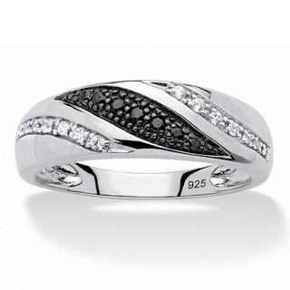 Platinum over Sterling Silver Men's 1/5ct TDW Black and White Diamond Ring (H-I, I2-I3)