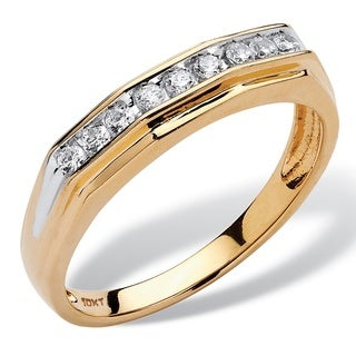 PalmBeach 10k Yellow Gold Men's 1/4ct TDW Channel-set Diamond Band (H-I, I2-I3)