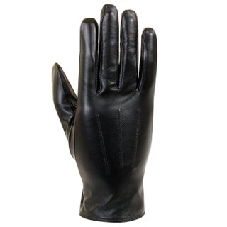 Isotoner Women's Black Leather Fabric-lined Gloves
