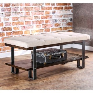 Furniture of America Arbon Dark Oak Rustic Metal Ivory Flax Bench