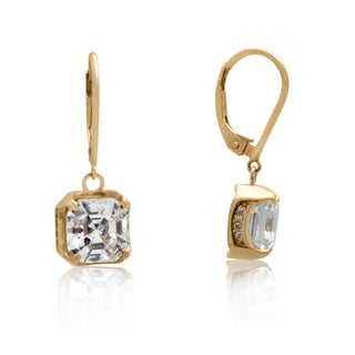 Gioelli 14k Yellow Gold Cushion Cubic Zirconia Leverback Earrings