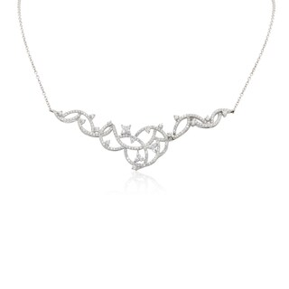 Gioelli Sterling Silver Cubic Zironia Half Interlocking Circle Tiara Necklace