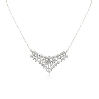Gioelli Sterling Silver Cubic Zironia Classic Tiara Necklace