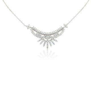 Gioelli Sterling Silver Cubic Zironia Fancy Tiara Necklace