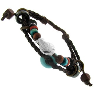 Gioelli Leather and Cotton Multi-layered Synthetic Bead Adjustable Bracelet