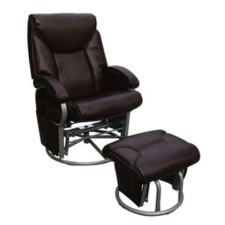 Bonded Leather Glider and Ottoman